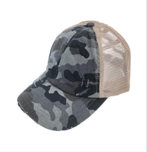 Load image into Gallery viewer, C.C. Criss Cross Ponytail Cap (Gray Camo)