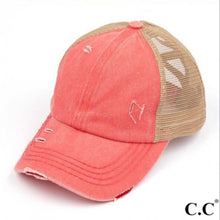 Load image into Gallery viewer, C.C. Criss Cross Pony Cap (Coral)
