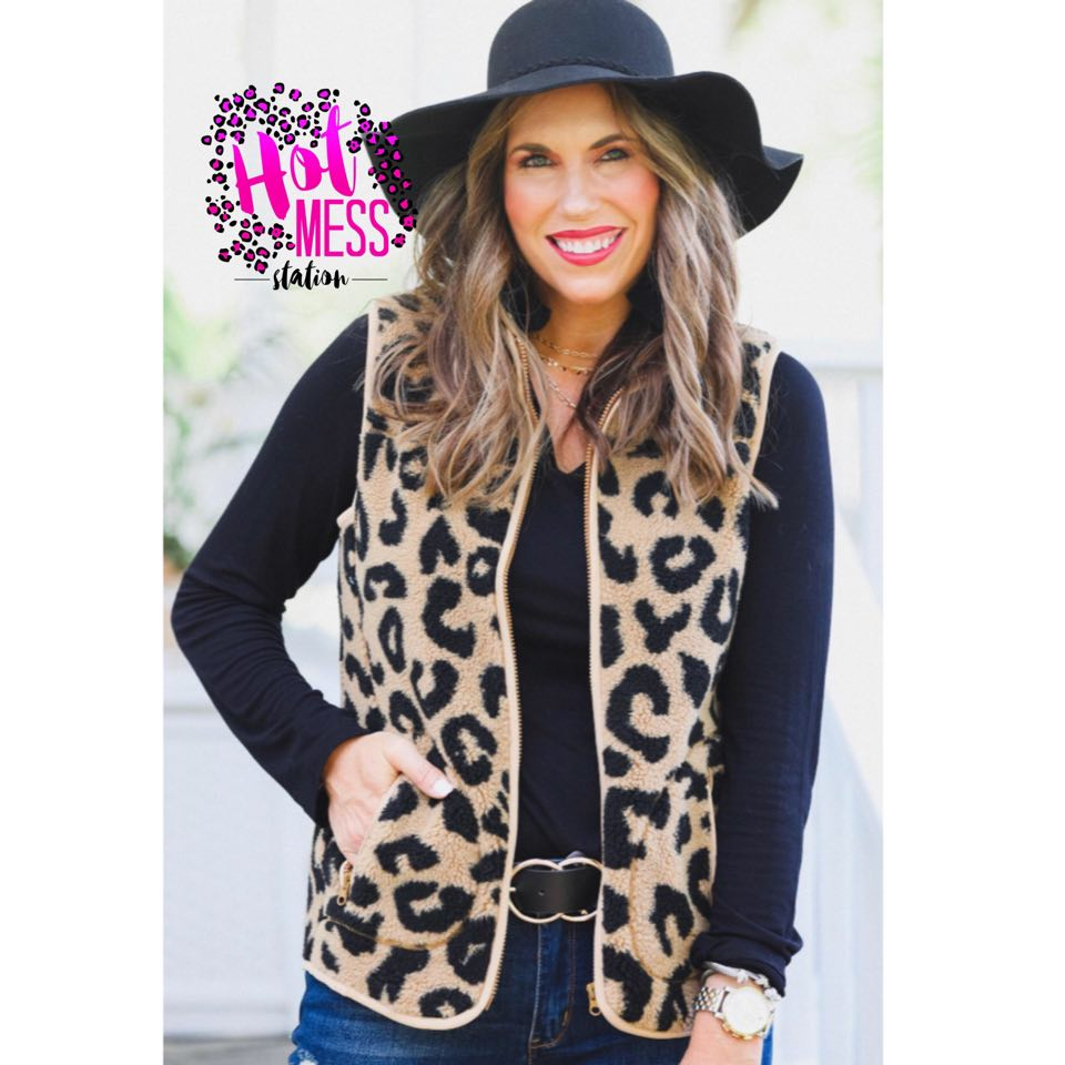 Lincoln Leopard Shearling Vest