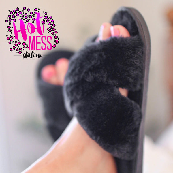 Black Criss Cross Slippers