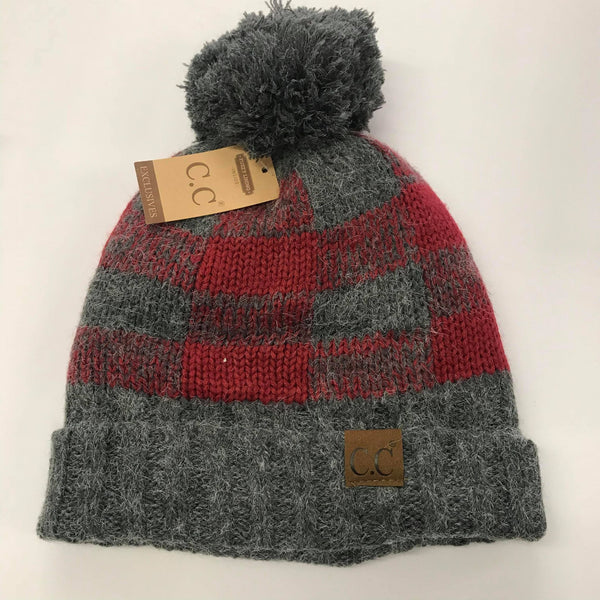 CC Red/Gray Plaid Fur Pom Beanie