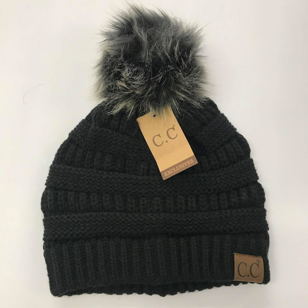 CC Black with Silver Fur Pom Beanie