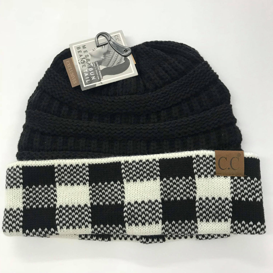 CC White/Black Plaid Messy Bun Beanie