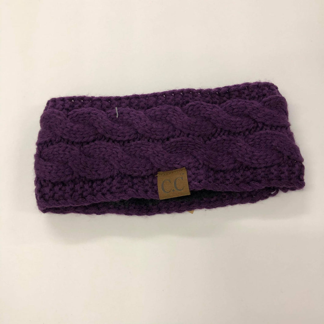 CC Purple Cable Knit Fuzzy Lined Headband