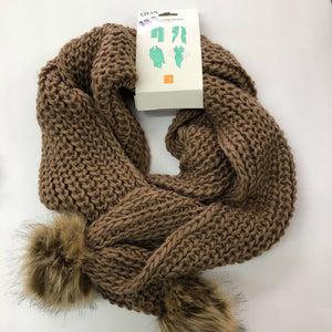 Mocha Cable Knit Scarf