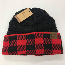 CC Red/Black Buffalo Plaid Beanie