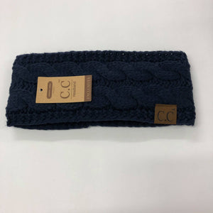 CC Navy Cable Knit Fuzzy Lined Headband