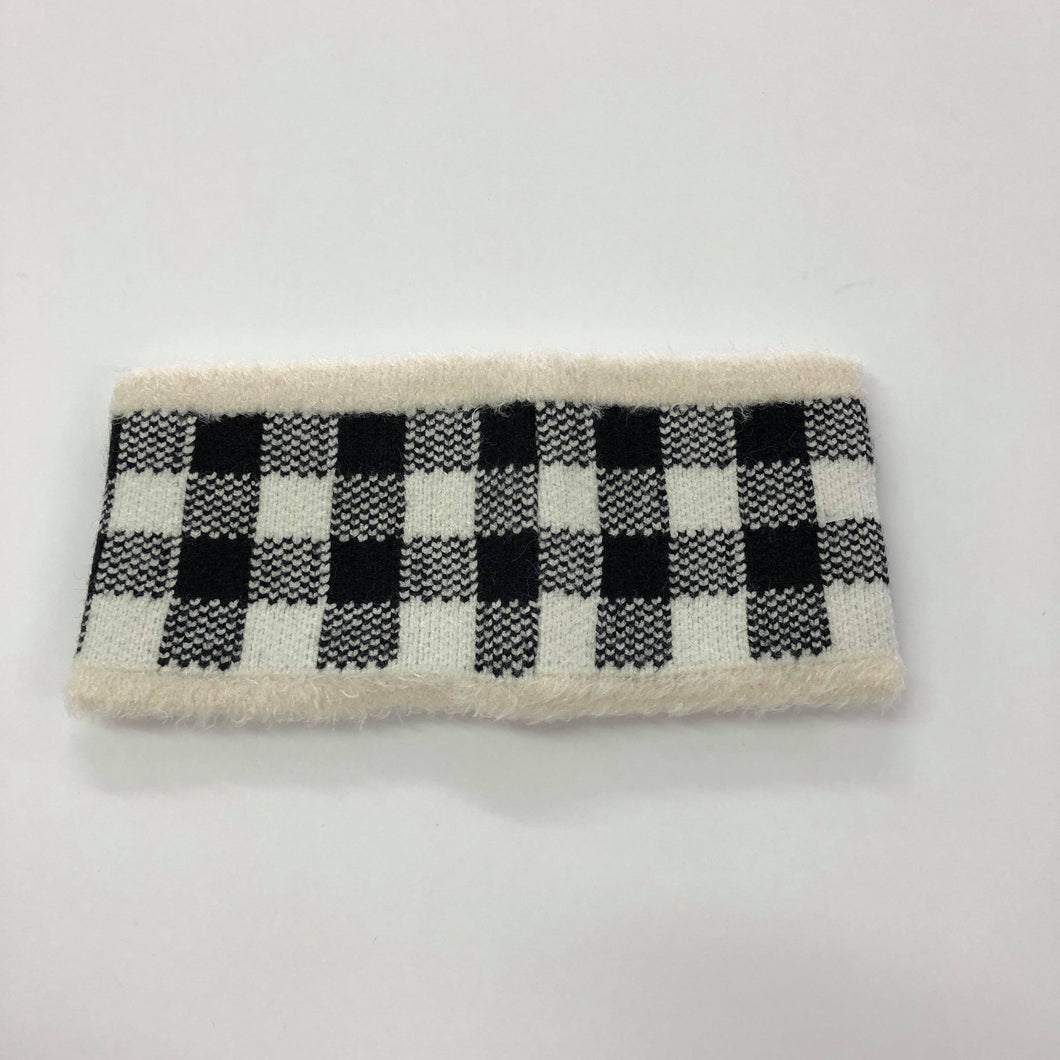 White Plaid Fuzzy Lined Headband
