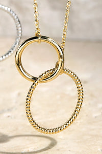 Brass Textured Ring Pendant Necklace