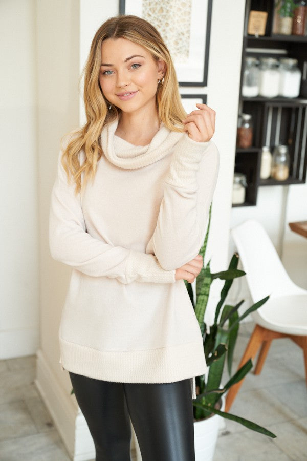 Oatmeal Long Sleeve Solid Knit Sweater