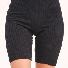 Load image into Gallery viewer, Black Ribbed Biker Shorts