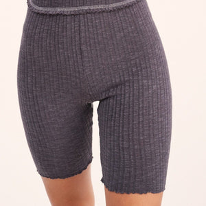 Charcoal Ribbed Biker Shorts