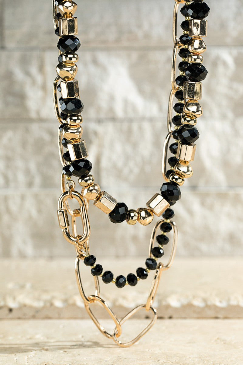 Layered Glass Bead Necklace (Black)