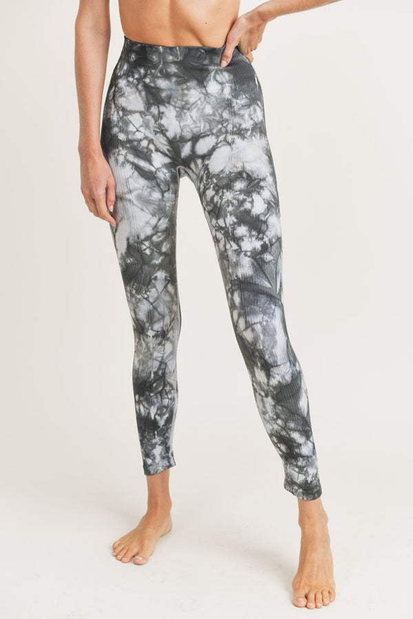 Glass Tie-Dye Seamless Ribbed Highwaist Leggings