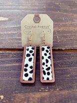 Dalmatian Bamboo Rectanlge Earrings