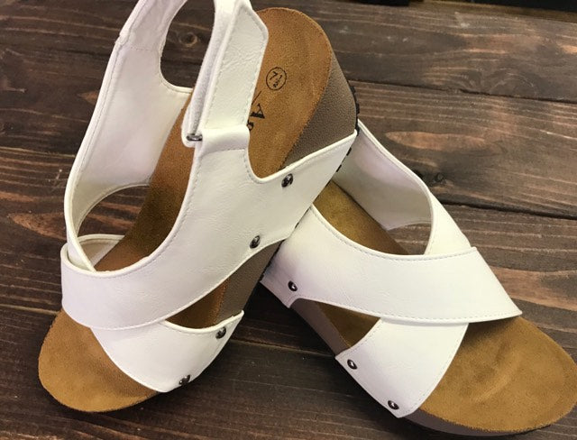 White Strappy Wedge