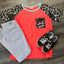 Neon Coral Leopard Top