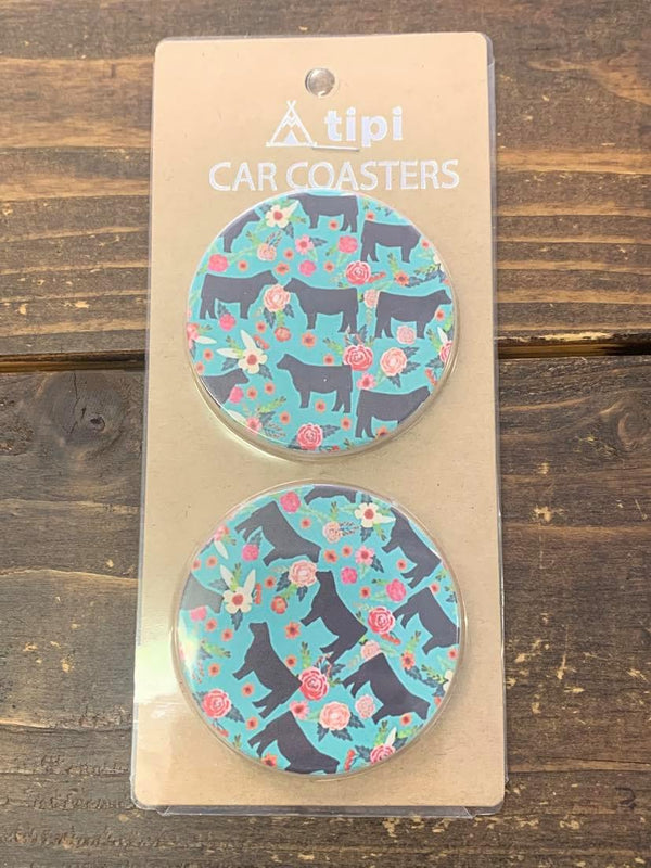 Flower Cow Car Coasters