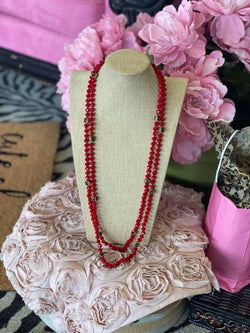 RED/LEOPARD BEADED NECKLACE