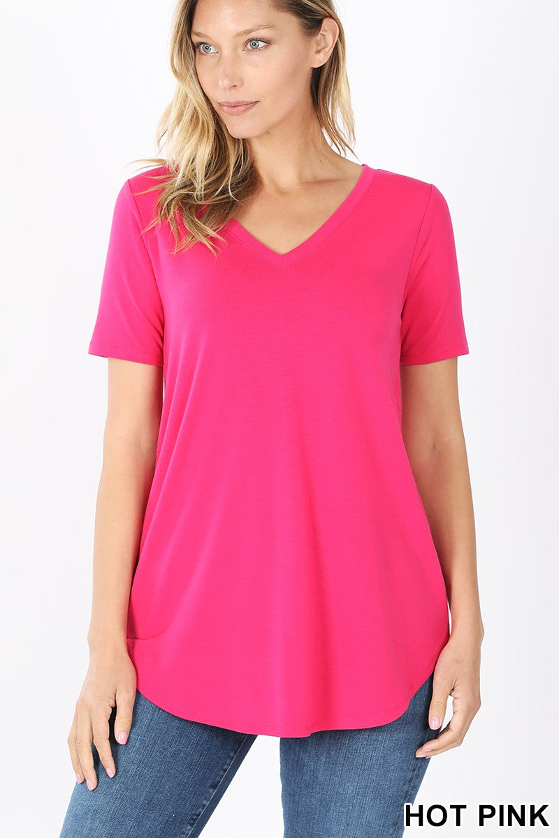 Hot Pink Short Sleeve V-Neck Round Hem Top