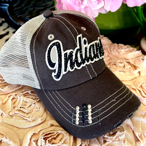 Indians Bling Trucker Hat- Silver/Gray