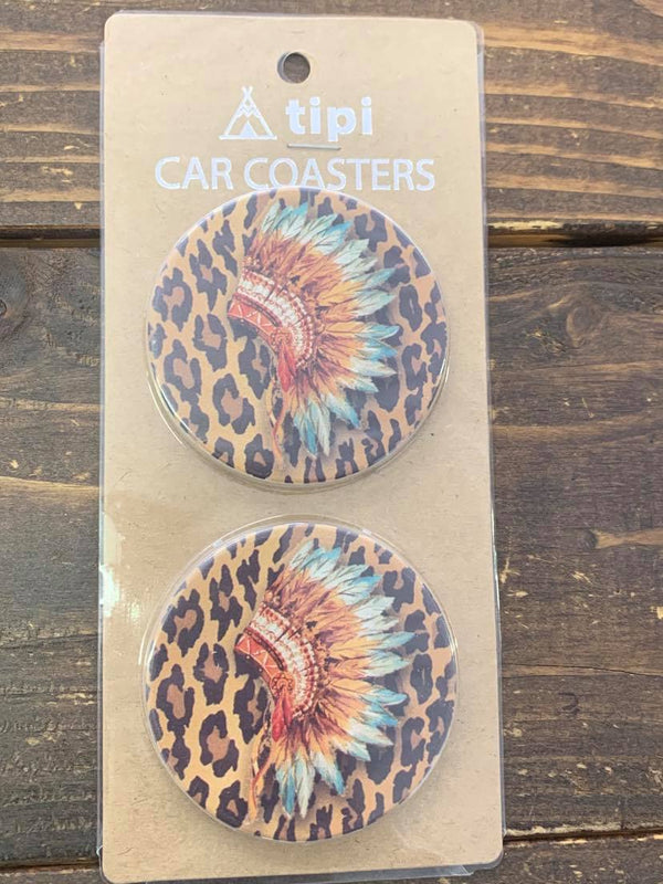 Leopard Headress Car Coasters