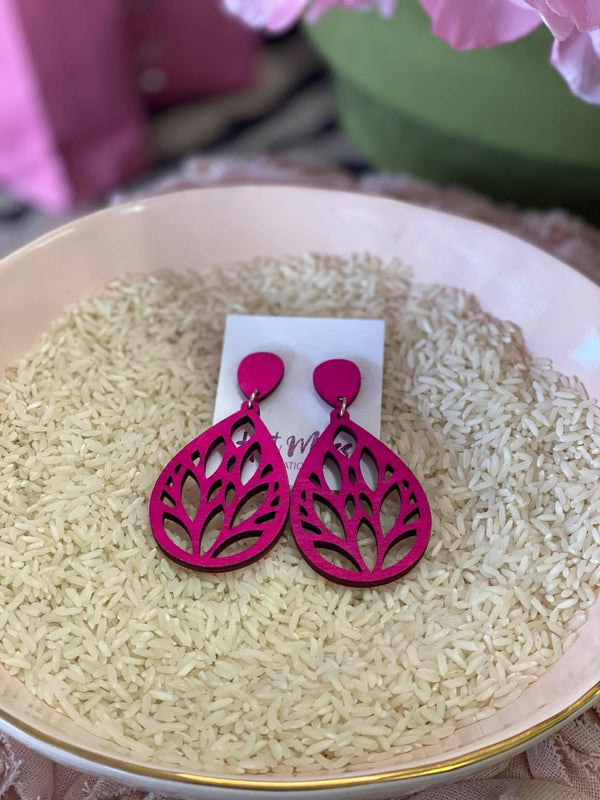 Pink Wood Earrings