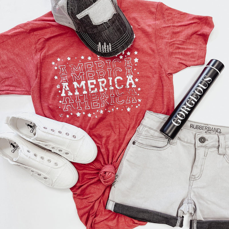 Red America Tee