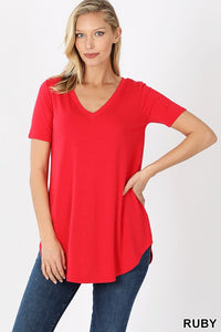 Ruby Short Sleeve V-Neck Round Hem Top