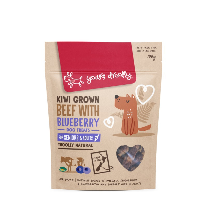 Yours Droolly Kiwi Grown Senior Beef with Blueberry Treats 100g