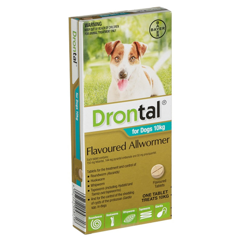 Drontal Allwormer for Dogs (Up to 10kg per tablet) - Sold Individually