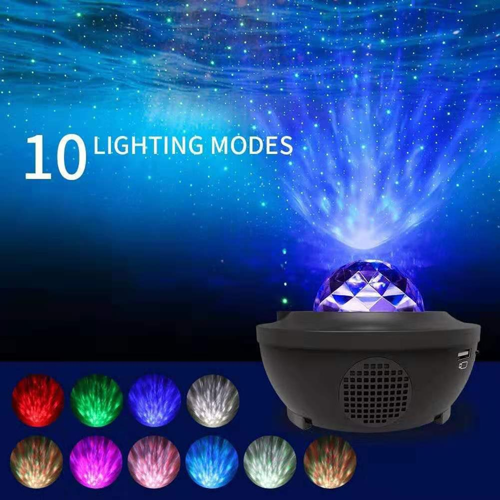 Projector Lamp LED Star Night Light Wave Sky Starry Galaxy Blueteeth USB Voice Control Music Player Lighting Lamp Birthday