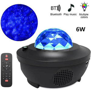 Open image in slideshow, Projector Lamp LED Star Night Light Wave Sky Starry Galaxy Blueteeth USB Voice Control Music Player Lighting Lamp Birthday