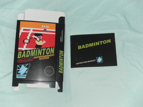 Badminton Box and Manual Combo for Nintendo NES