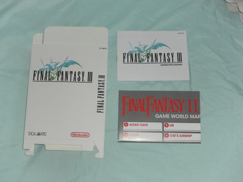 Final Fantasy III Box and Manua and map Combo for Nintendo NES