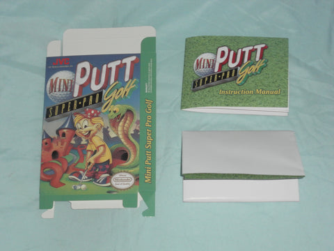 Mini Putt Super Pro Golf Box and Manua and map Combo for Nintendo NES