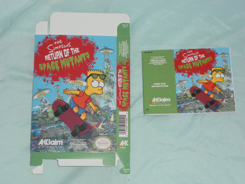 Simpsons Return of the Space Mutants Box and Manual Combo for Nintendo NES