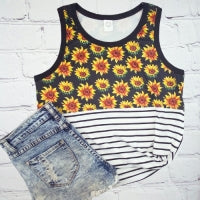 Sunflowers and Stripes Tank Top