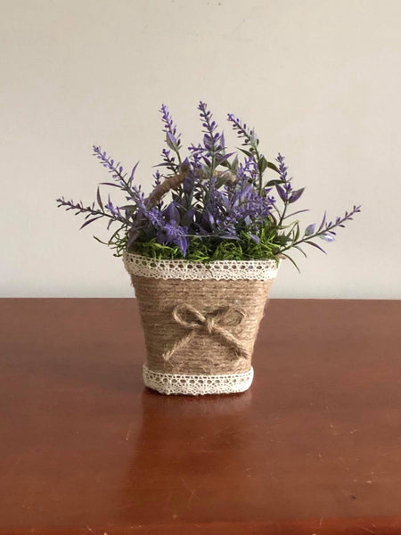 Jute and Lace Lavender Basket
