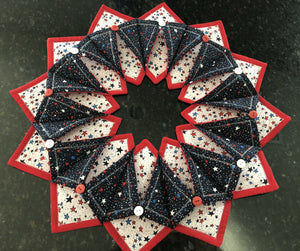 Patriotic Fold N Stitch Wreath