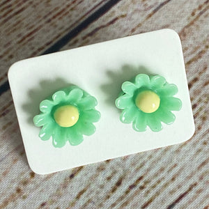 Mint & Yellow Flower Stud Earrings