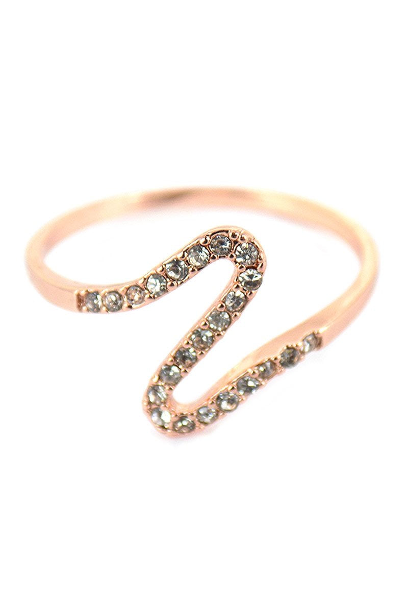 Rose Gold-tone and Crystal Geo Wave Ring