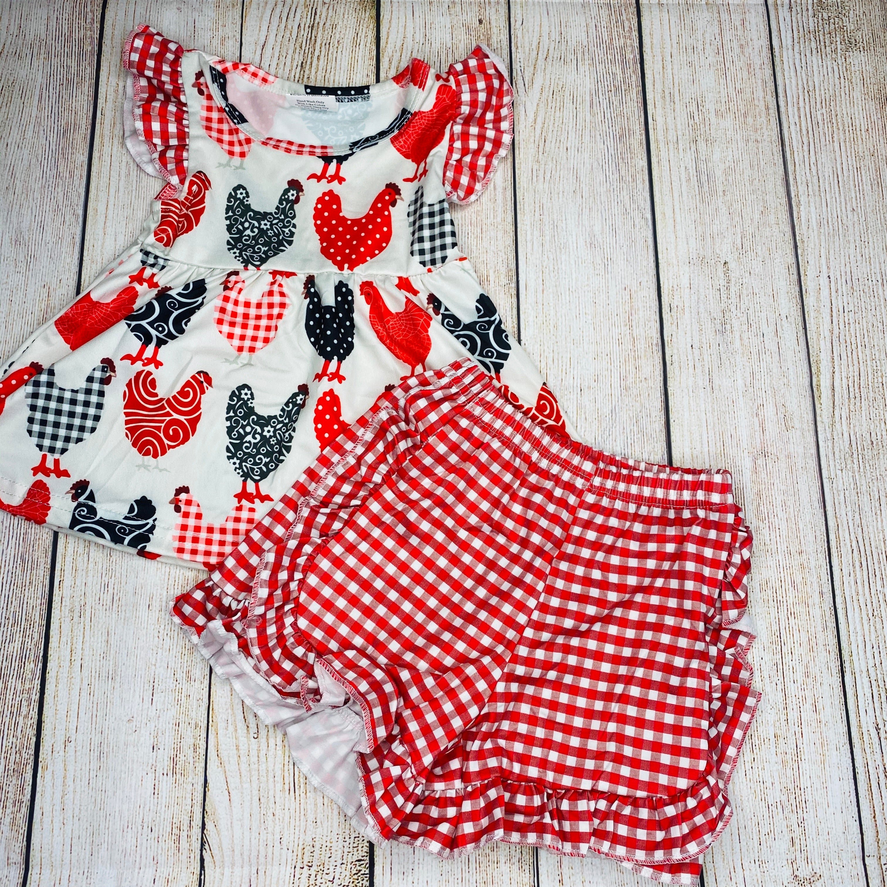 Red Gingham Chicken Ruffle Outfit