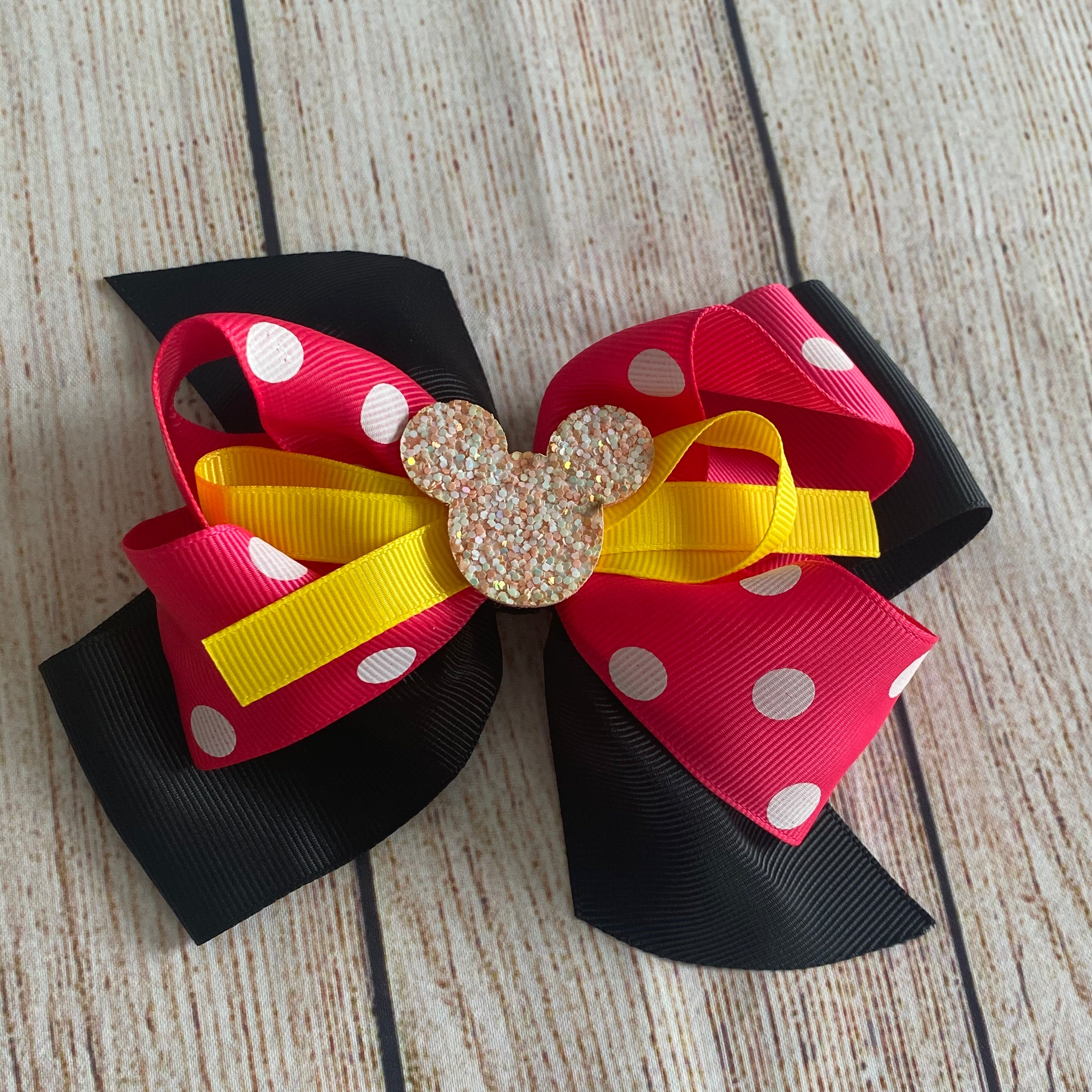 Hot Pink & White Polka Dot Mouse Bow