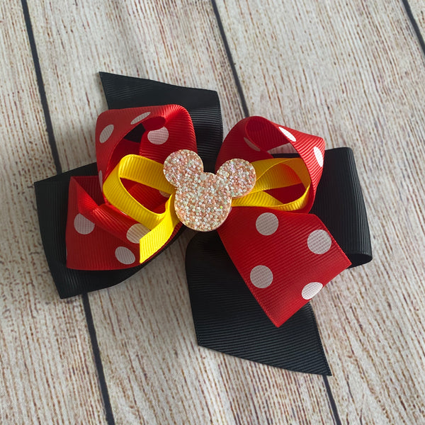 Red and White Polka Dot Mouse Bow