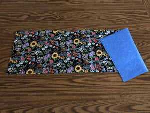 Floral Table Runners with Black Background