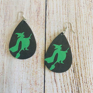 Double-Sided, Faux Leather Halloween 🎃 Earrings