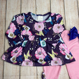 Purple & Pink Floral Baby Girls Outfit