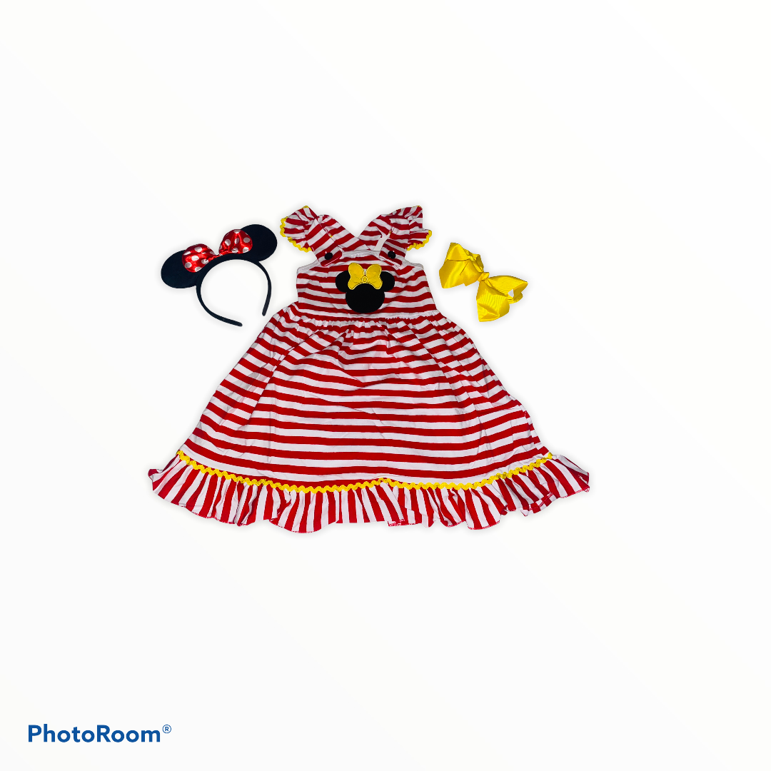 Red & White Striped Minnie Dress