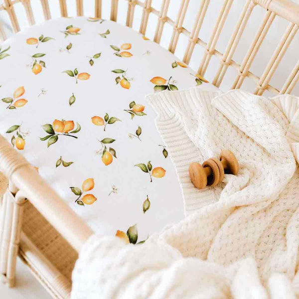 Lemons • Fitted Bassinet Sheet / Change Pad Cover
